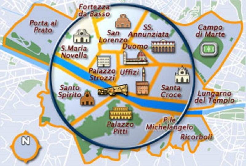 Onde Ficar em Florença: Mapa