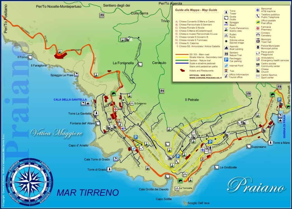 Onde Ficar em Praiano na Itália: Mapa