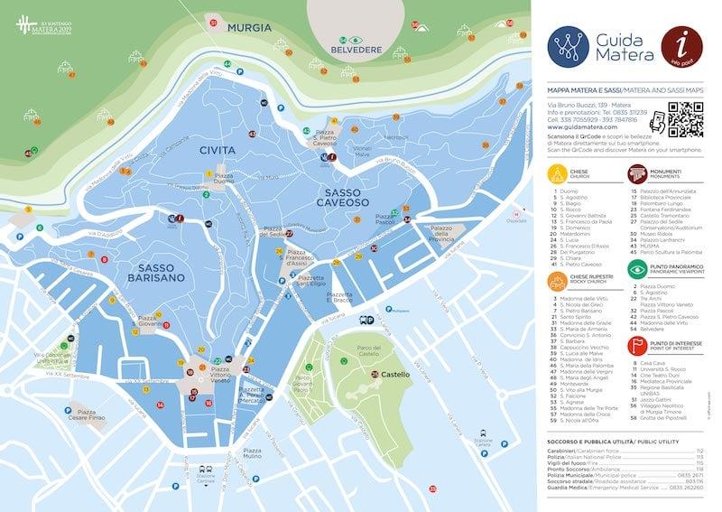 Onde Ficar em Matera na Itália: Mapa