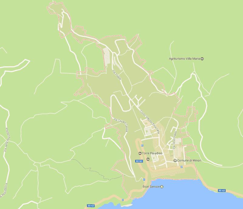 Onde Ficar em Minori na Itália: Mapa
