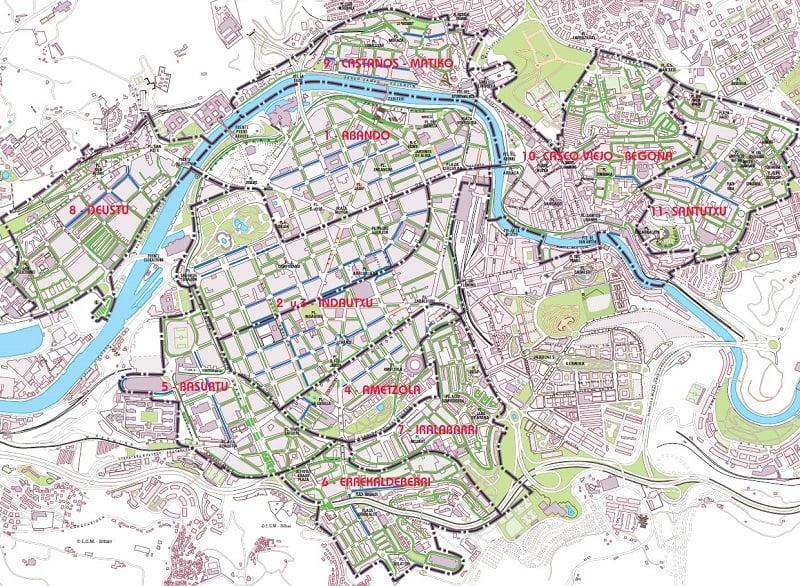 Onde Ficar em Bilbao: Mapa