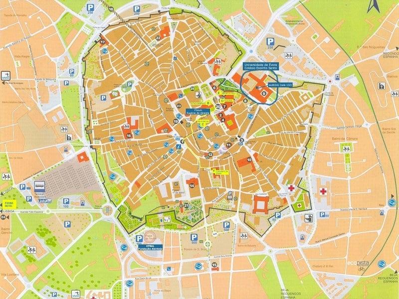 Onde Ficar em Évora: Mapa
