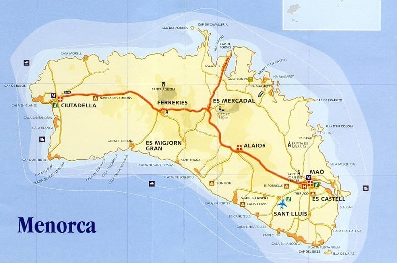 Onde Ficar em Menorca: Mapa