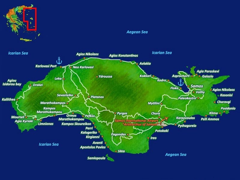 Onde Ficar em Samos: Mapa