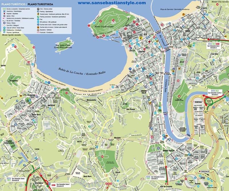 Onde Ficar em San Sebastián: Mapa