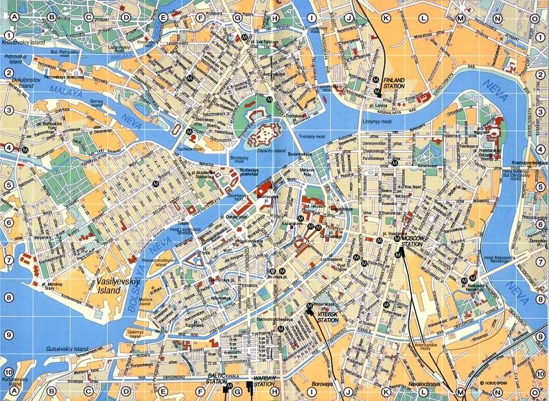 Onde Ficar em São Petersburgo: Mapa