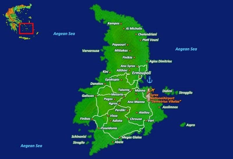 Onde Ficar em Syros: Mapa