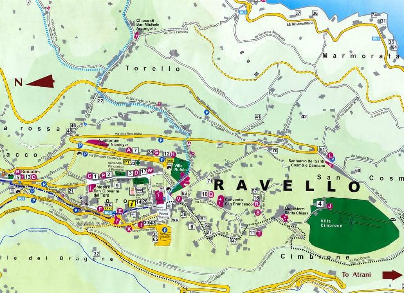 Onde Ficar em Ravello na Itália: Mapa