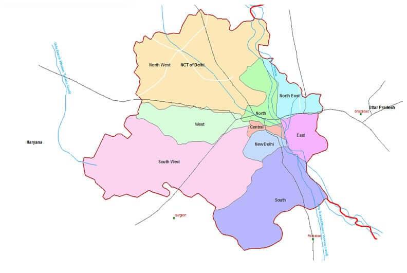 Onde Ficar em Delhi na Índia: Mapa