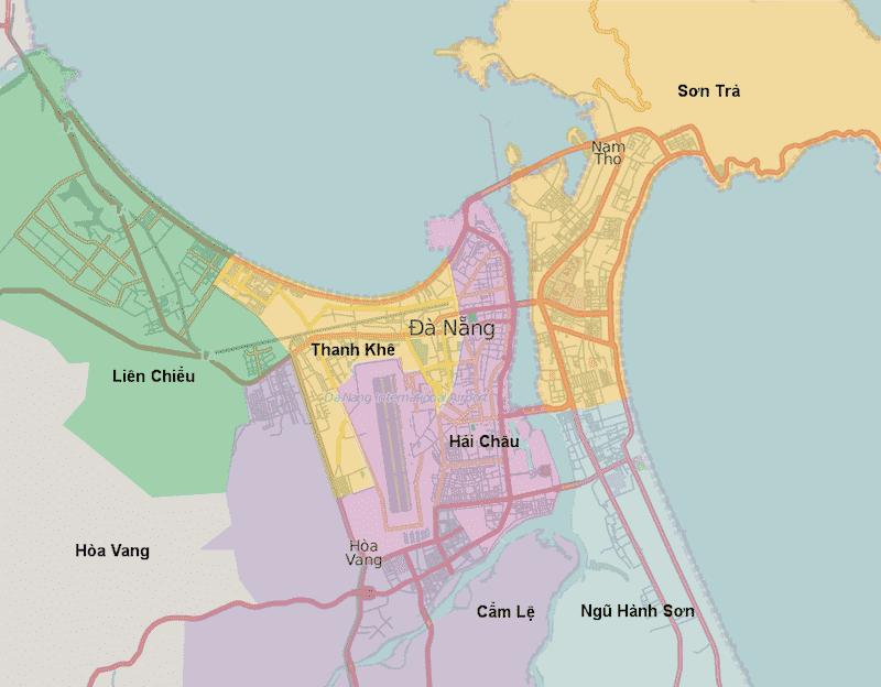 Onde Ficar em Da Nang no Vietnã: Mapa