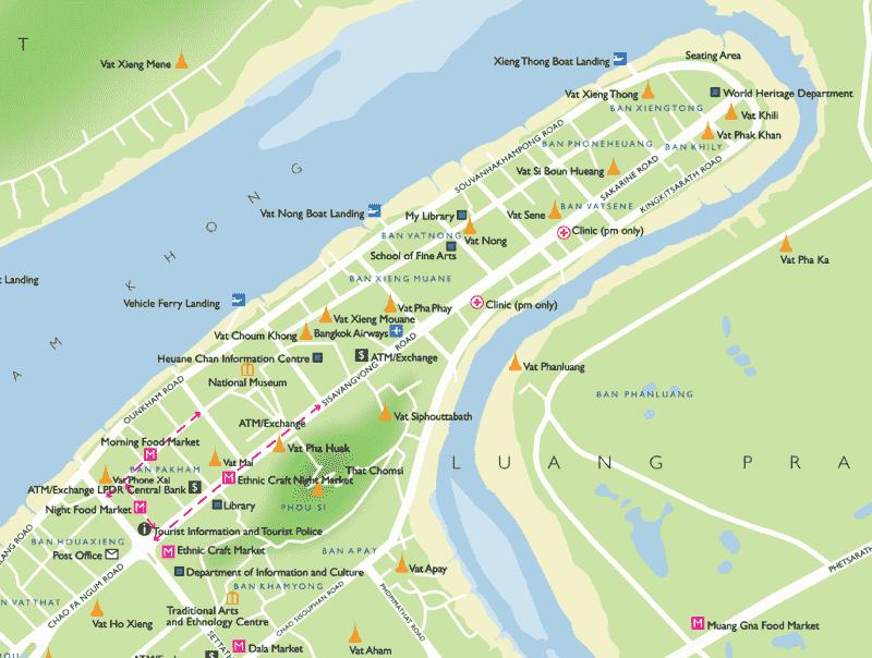 Onde Ficar em Luang Prabang em Laos: Mapa