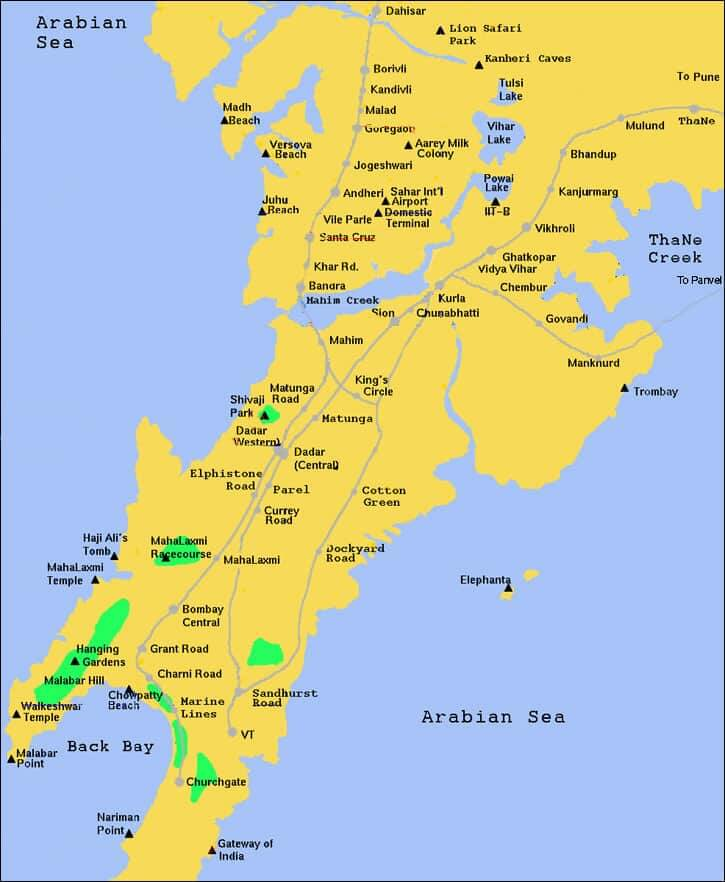 Onde Ficar em Mumbai na Índia: Mapa
