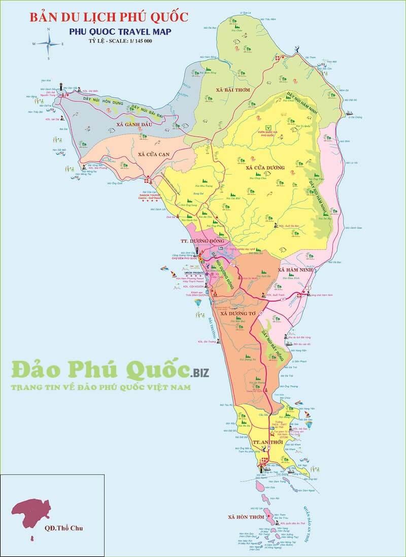 Onde Ficar em Phu Quoc no Vietnã: Mapa