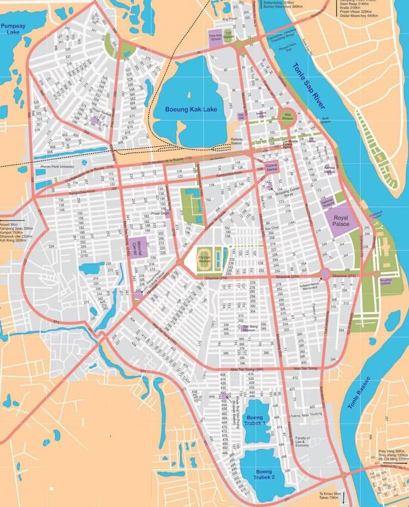 Onde Ficar em Phnom Penh na Camboja: Mapa