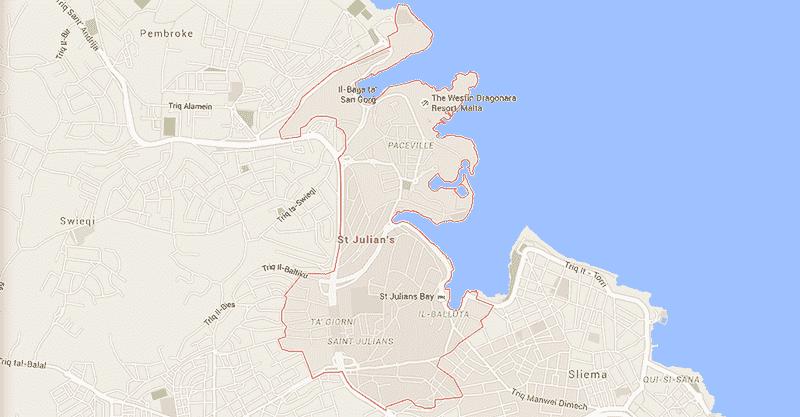 Onde Ficar em St. Julian's em Malta: Mapa