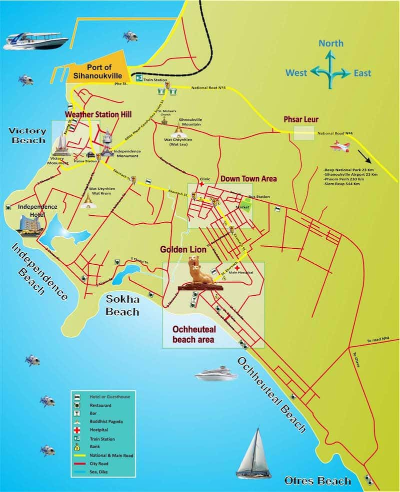 Onde Ficar em Sihanoukville no Camboja: Mapa