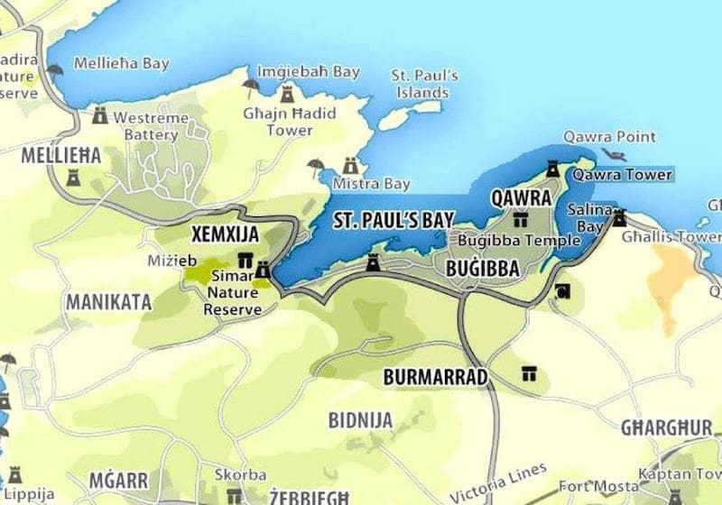 Onde Ficar em St.Paul's Bay em Malta: Mapa