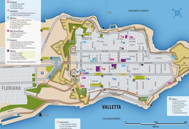 Onde ficar em Valletta em Malta: Mapa