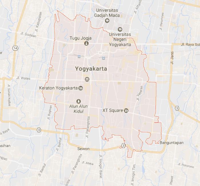 Onde Ficar em Yogyakarta na Indonésia: Mapa