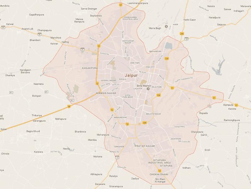 Onde Ficar em Jaipur na Índia: Mapa