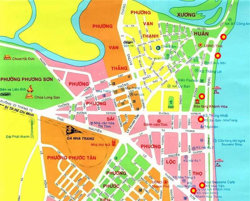 Onde Ficar em Nha Trang no Vietnã: Mapa