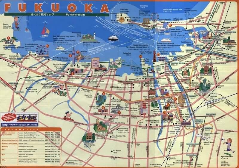 Onde Ficar em Fukuoka: Mapa