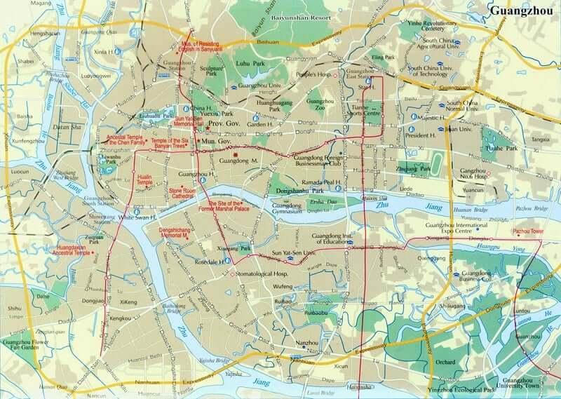 Onde Ficar em Guangzhou: Mapa
