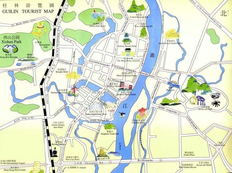 Onde Ficar em Guilin: Mapa