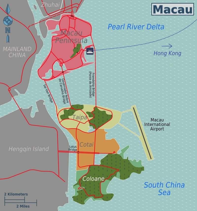 Onde Ficar em Macau: Mapa