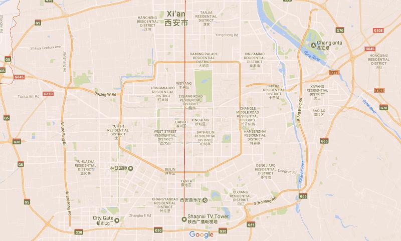 Onde Ficar em Xian: Mapa