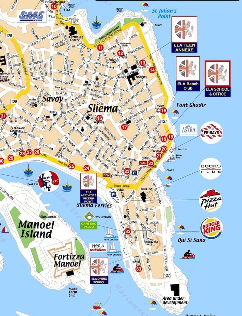 Onde Ficar em Sliema em Malta: Mapa