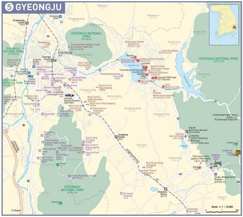 Onde Ficar em Gyeongju na Coréia do Sul: Mapa