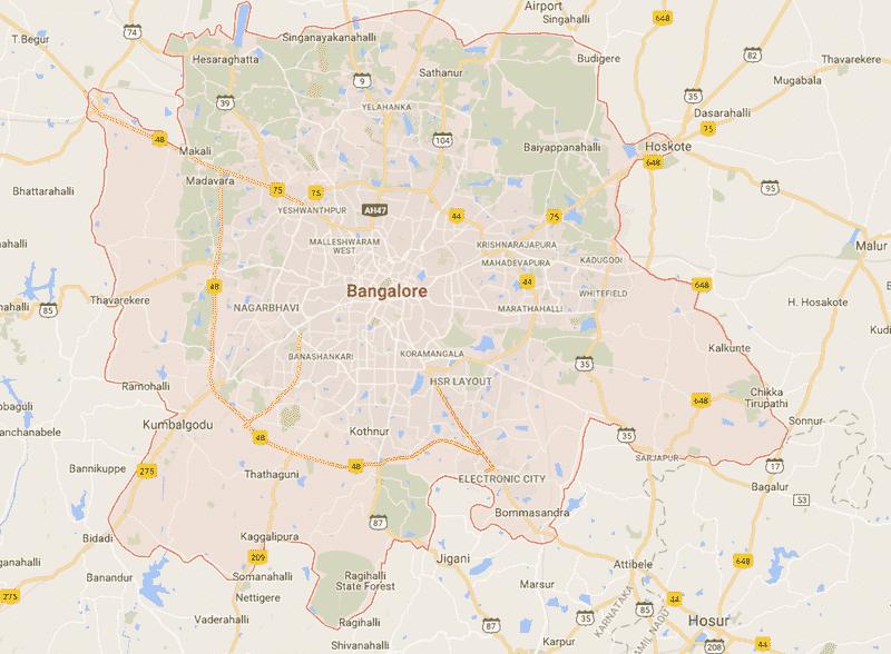 Onde Ficar em Bangalore na Índia: Mapa