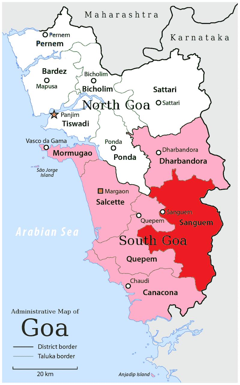 Onde Ficar em Canacona na Índia: Mapa