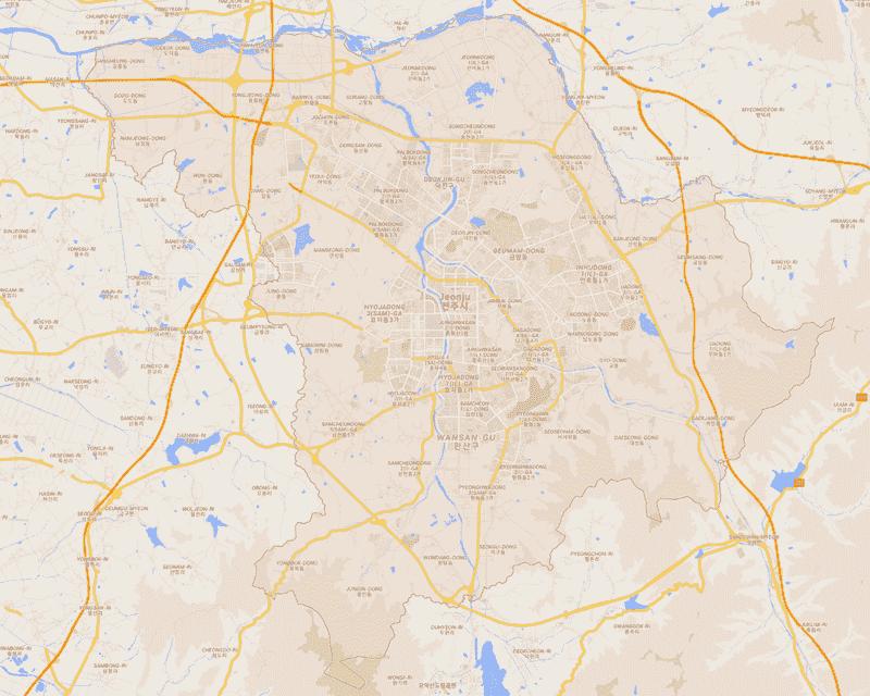 Onde Ficar em Jeonju na Coréia do Sul: Mapa
