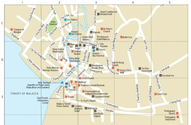Onde Ficar em Malaca na Malásia: Mapa