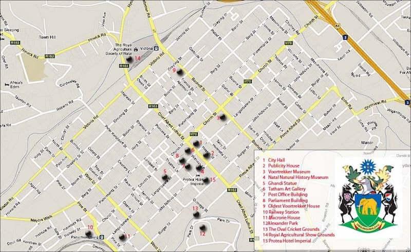 Onde Ficar em Pietermaritzburg na África do Sul: Mapa