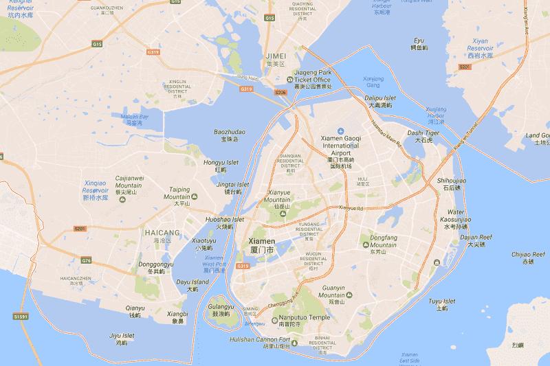 Onde Ficar em Xiamen: Mapa